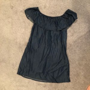 Denim off the shoulder mini dress